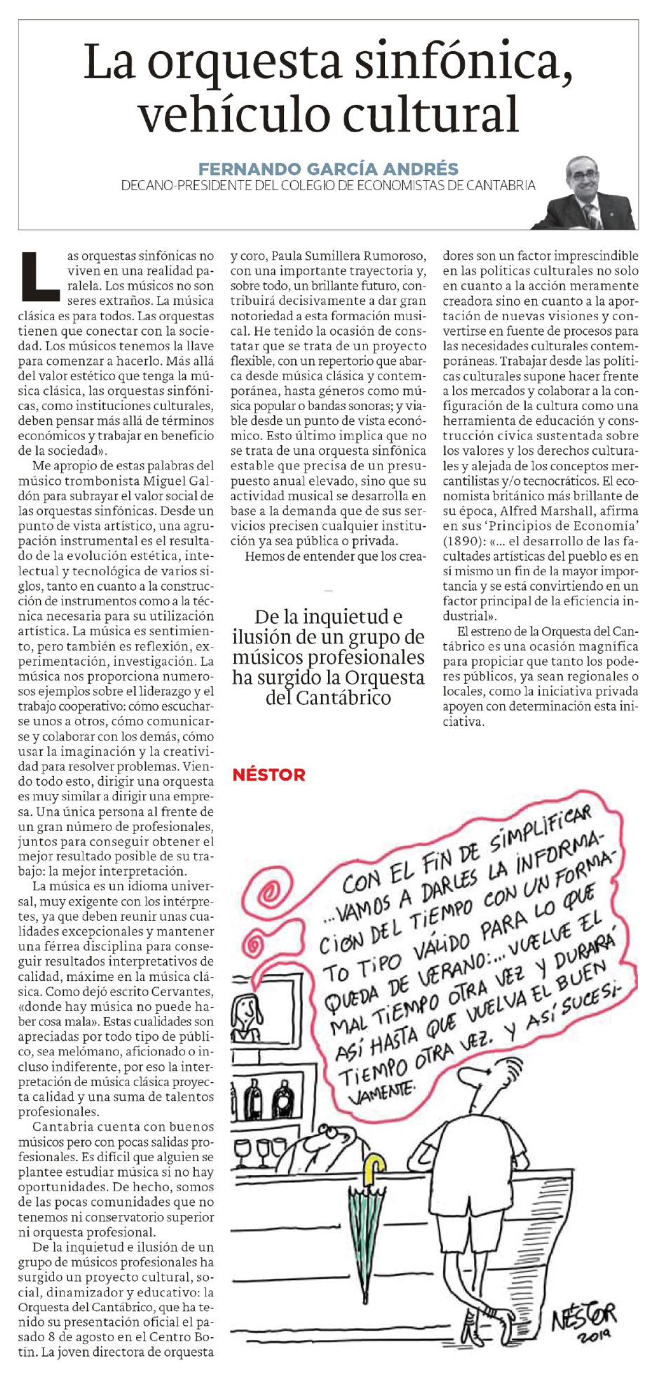 Tribuna de Fernando García Andrés en el Diario Montañes